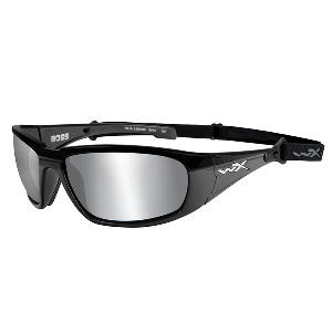 Wiley X Boss Silver Flash Sunglasses - Grey Lens - Gloss Black Frame