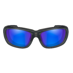 Wiley X Gravity Polarized Sunglasses - Blue Mirror Lens - Black Crystal Frame