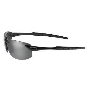 Wiley X Tobi Polarized Sunglasses - Silver Flash Lens - Gloss Black Frame