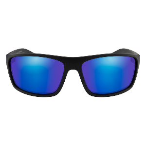 Wiley X Peak Polarized Sunglasses - Blue Mirror Lens - Matte Black Frame