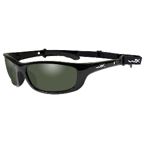 Wiley X P-17 Polarized Sunglasses - Smoke Green Lens - Gloss Black Frame