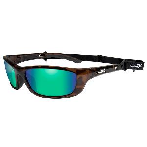 Wiley X P-17KA Polarized Sunglasses - Emerald Mirror Lens - Brown Gloss Demi Frame