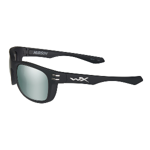 Wiley X Hudson Polarized Sunglasses - Platinum Flash Lens - Matte Black Frame