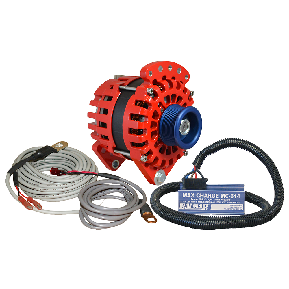 "Balmar Alternator 3.15"" Dual Foot Saddle J10 Serpentine Pulley Regulator & Temp Sensor - 170A Kit - 12V"