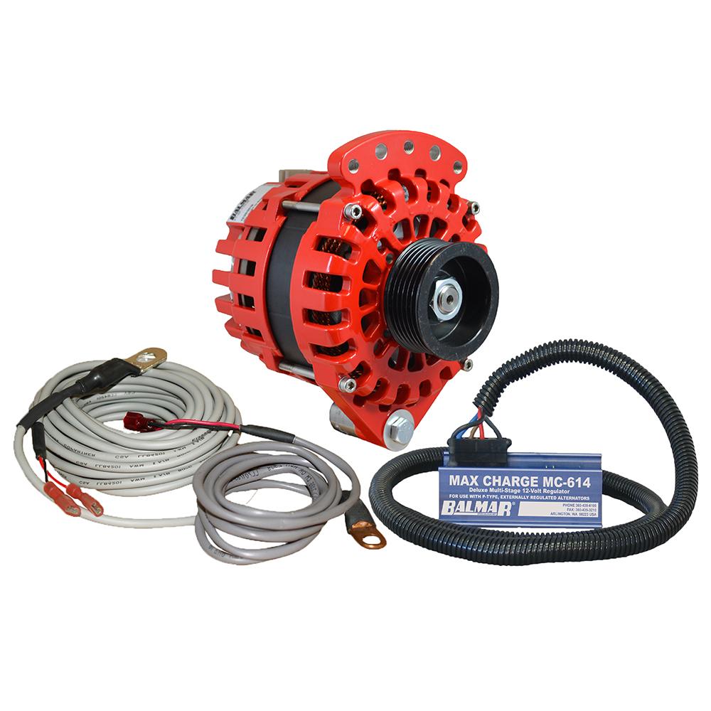 """Balmar Alternator 1-2"""" Single Foot K6 Serpentine Pulley Regulator & Temp Sensor - 170A Kit - 12V"""