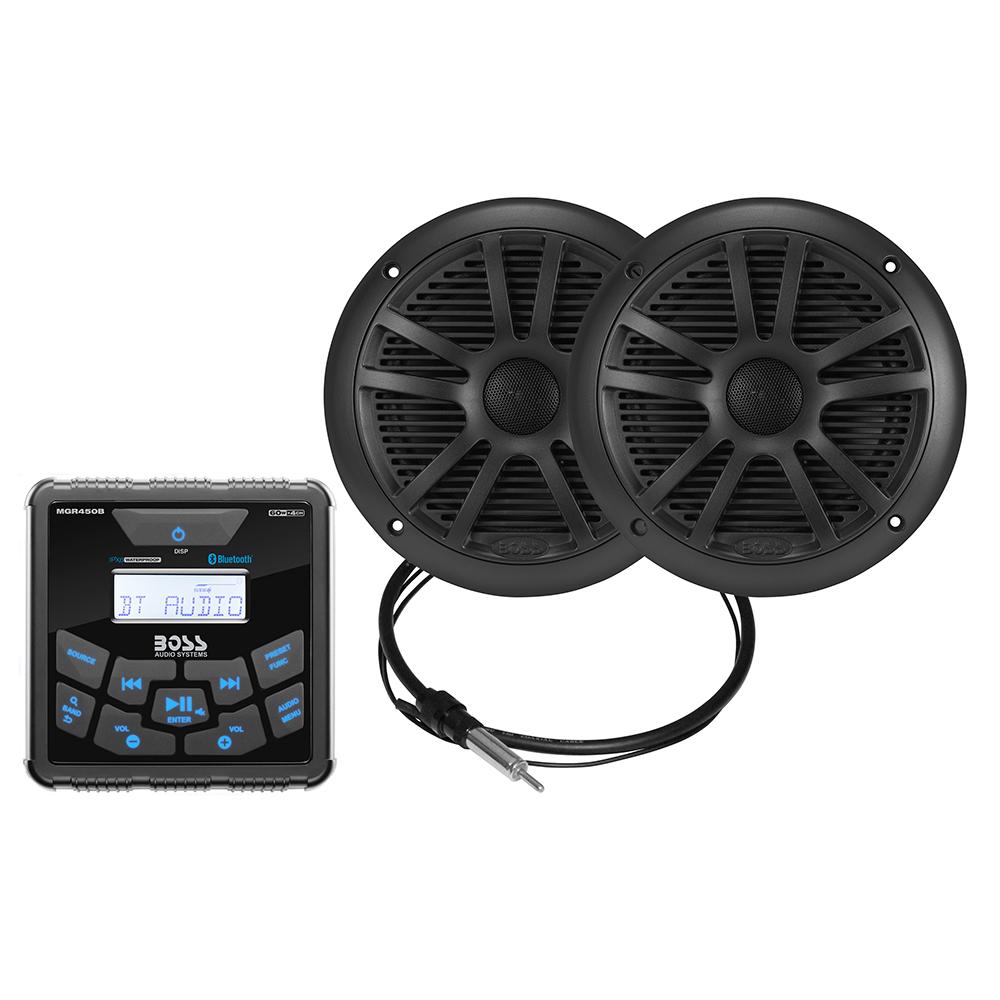 "Boss Audio MCKGB450B.6 Marine Package - In-Dash Marine Gauge Digital Media AM/FM/BT Receiver w/6.5"" Speakers - Black"