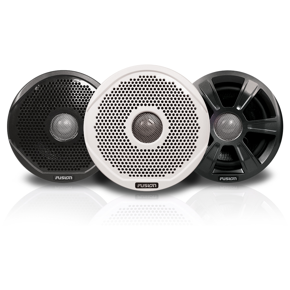 "FUSION FR6022 6"" Round 2-Way IPX65 Marine Speakers - 200W - (Pair) w/3 Speaker Grilles Provided"