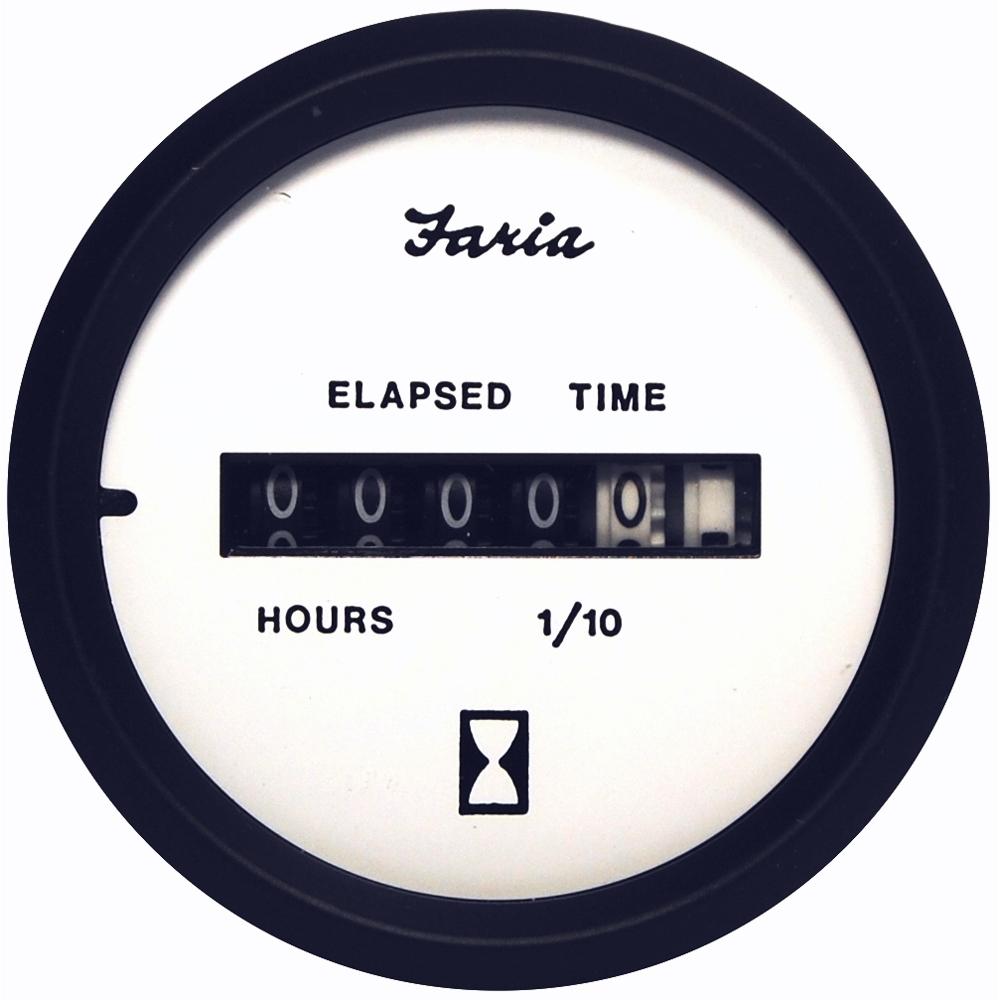 """Faria Euro White 2"""" Hourmeter (10,000 Hrs) (12-32 VDC)"""