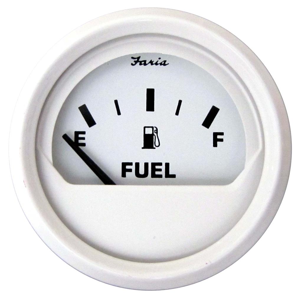 "Faria Dress White 2"" Fuel Level Gauge (E-1/2-F)"