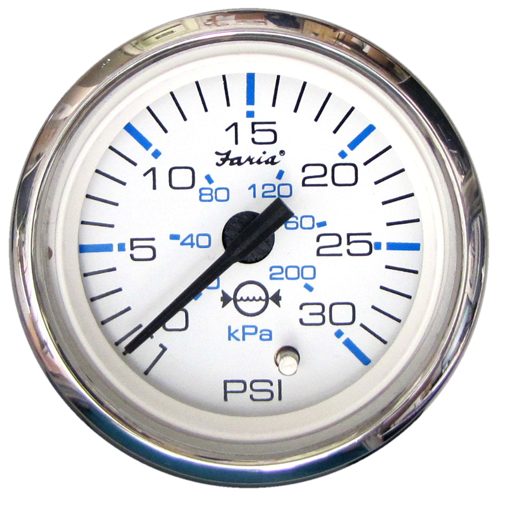 "Faria Chesapeake White SS 2"" Water Pressure Gauge - 30 PSI"