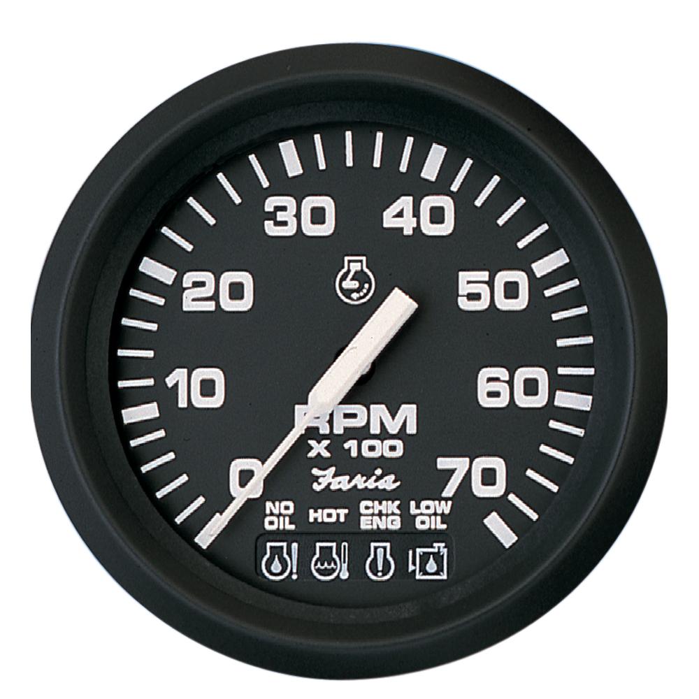"""Faria Euro Black 4"""" Tachometer w/Systemcheck 7000 RPM (Gas) f/ Johnson / Evinrude Outboard)"""