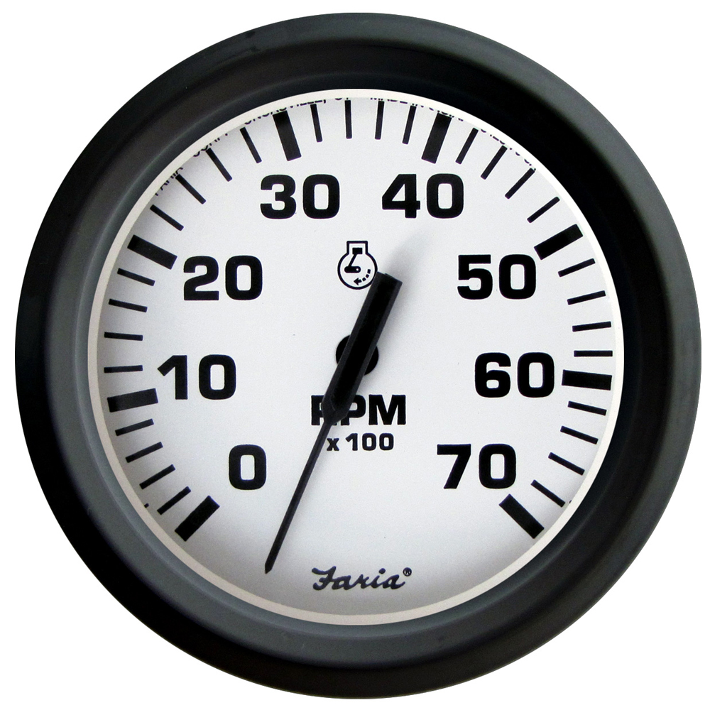 """Faria Euro White 4"""" Tachometer - 7,000 RPM (Gass - All Outboards)"""