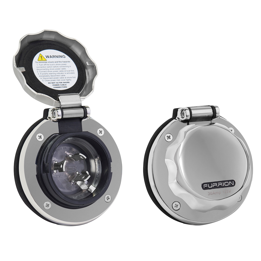 Furrion 30A Stainless Steel Round Inlet w/Powersmart LED
