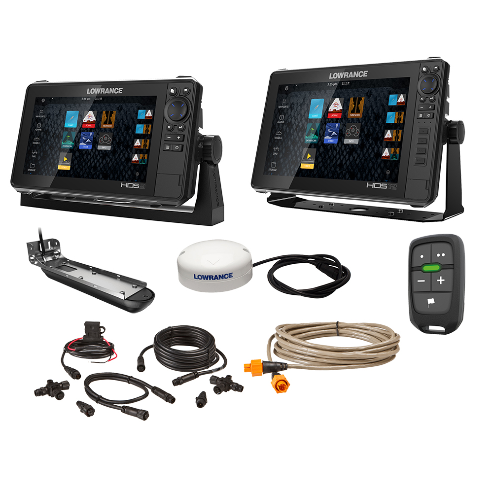 "Lowrance HDS Live Bundle - 9"" & 12"" Display AI 3-In-1 T/M Transducer, Point 1 GPS Antenna, LR-1 Remote & Cabling"