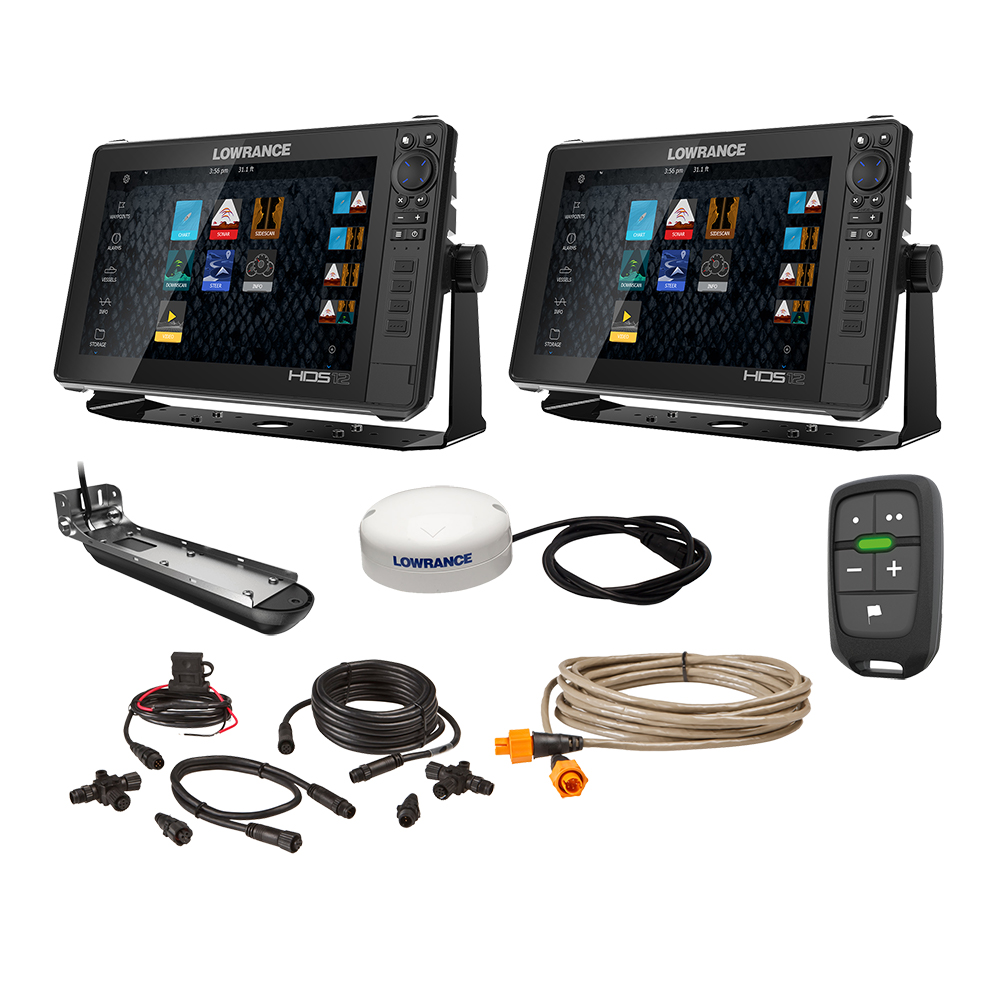 "Lowrance HDS Live Bundle - 2 -12"" Displays, AI 3-In-1 T/M Transducer, Point 1 GPS, LR-1 Remote & Cabling"