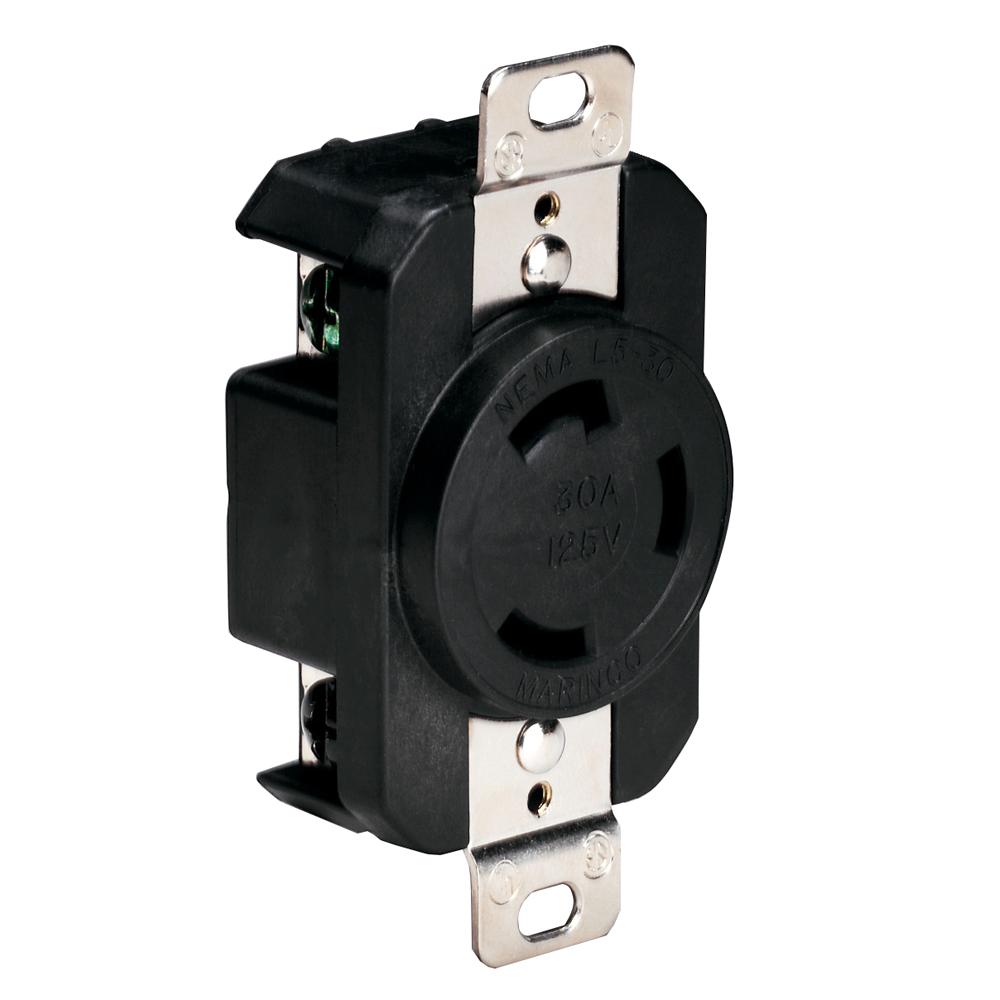 Marinco 305CRRB 125V 30Amp Locking Receptacle - Black