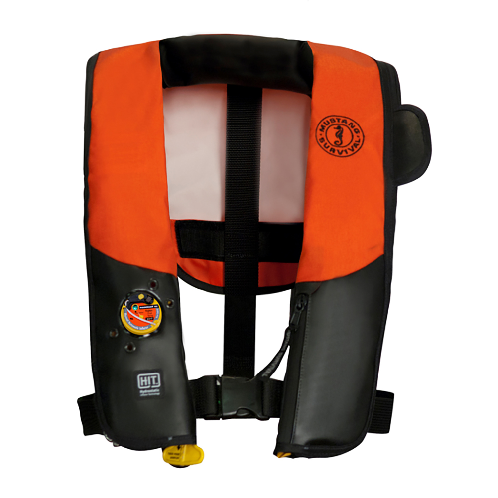 Mustang HIT Automatic Inflatable PFD - Law Enforcement Edition w/Customizable Back Flap  - Orange/Black