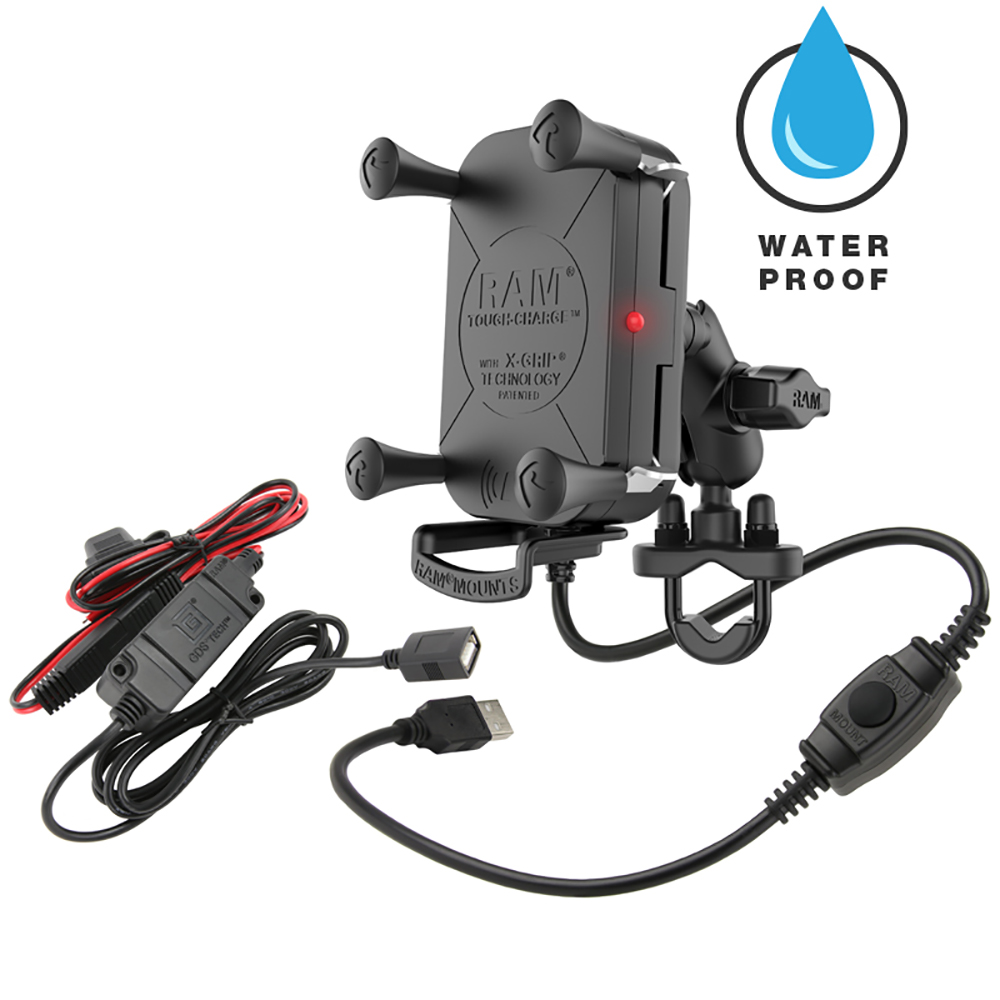 RAM Mount Tough-Charge™ Waterproof Wireless Charging Motorcycle Mount