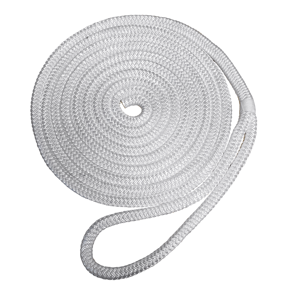 "Robline Premium Nylon Double Braid Dock Line - 1/2"" x 15' - White"