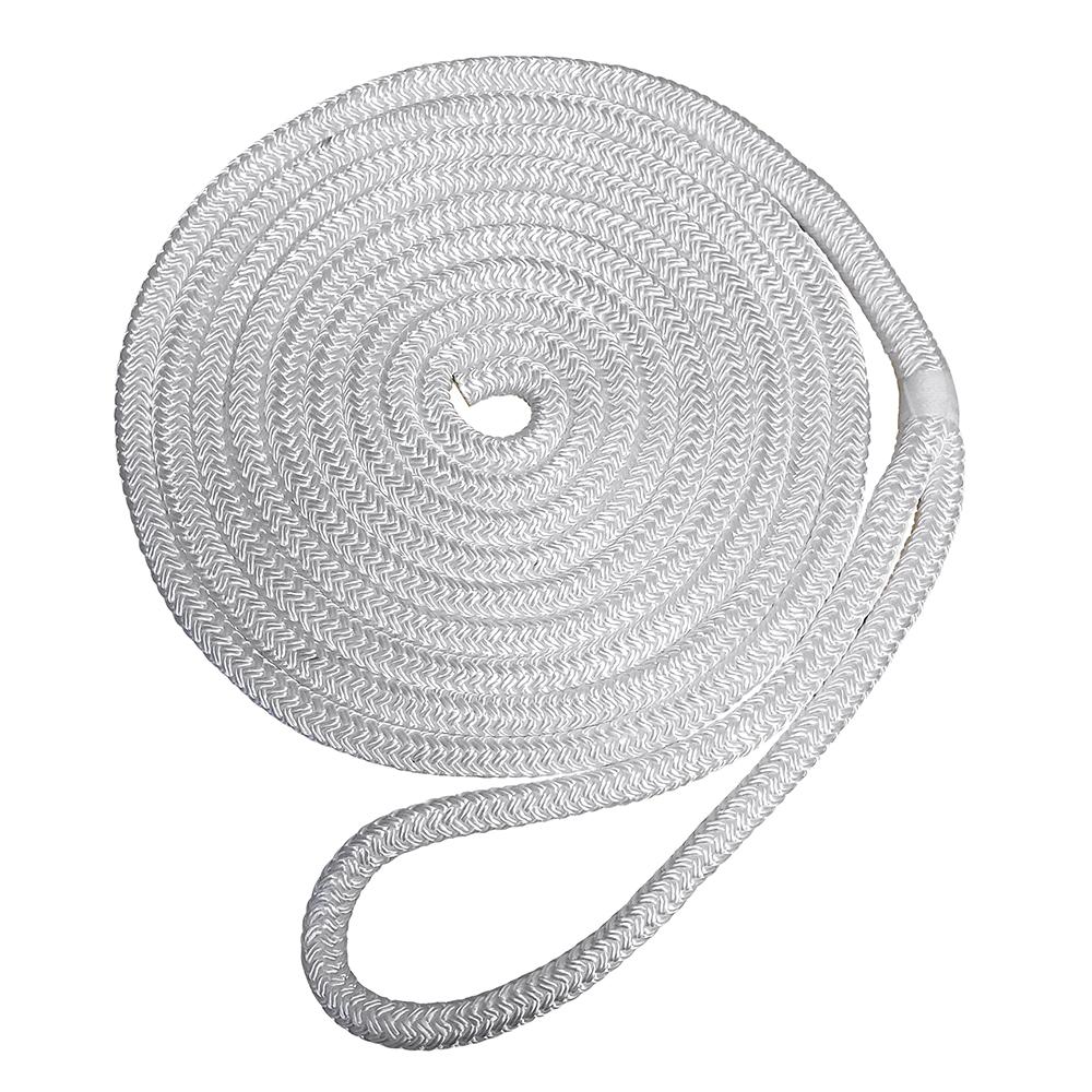 "Robline Premium Nylon Double Braid Dock Line - 1/2"" x 35' - White"