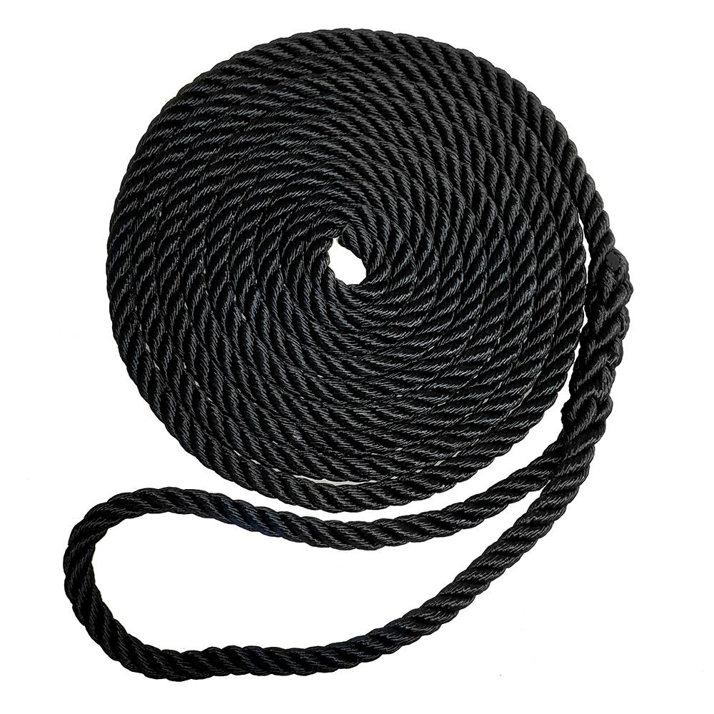 "Robline Premium Nylon 3 Strand Dock Line - 1/2"" x 15' - Black"