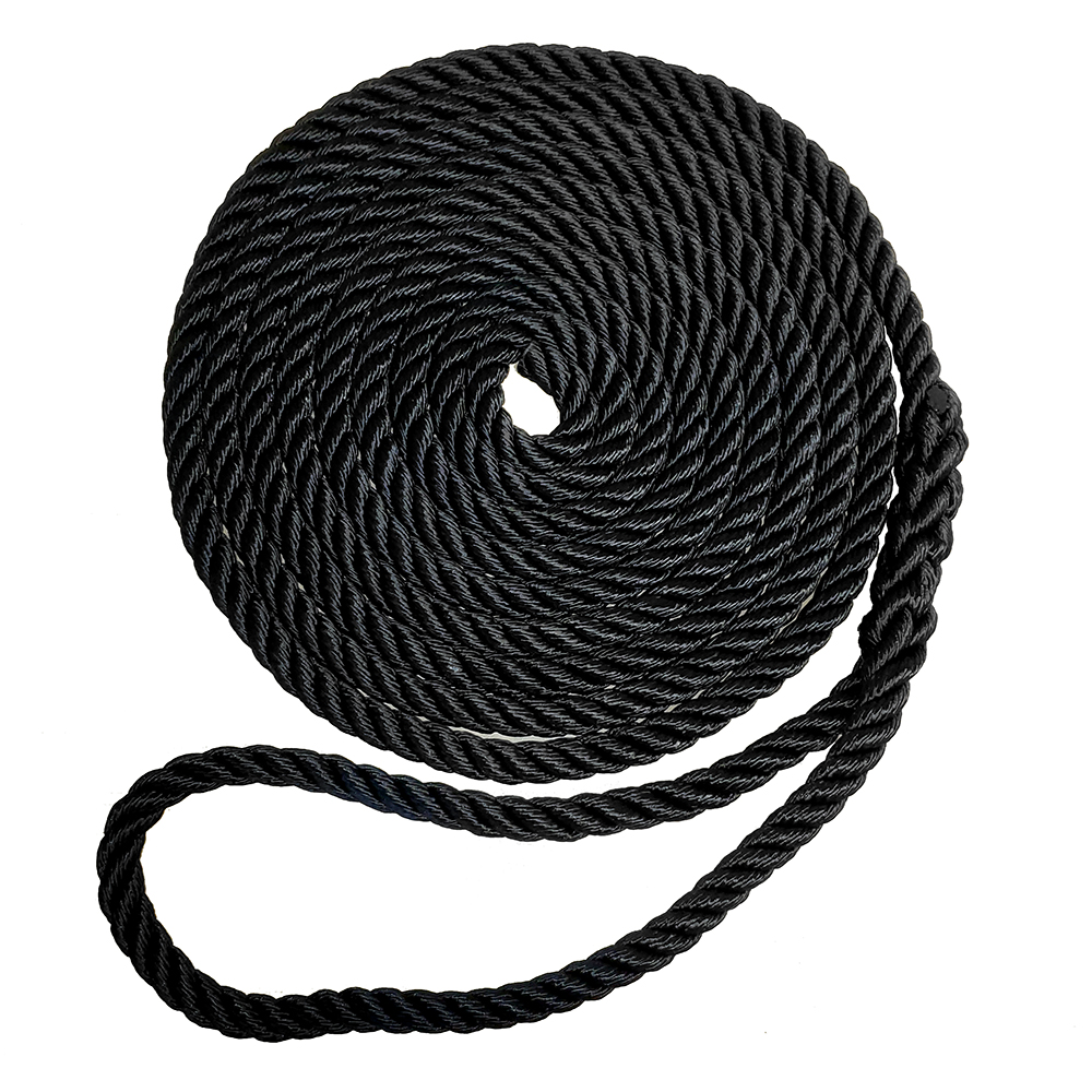 "Robline Premium Nylon 3 Strand Dock Line - 1/2"" x 25' - Black"