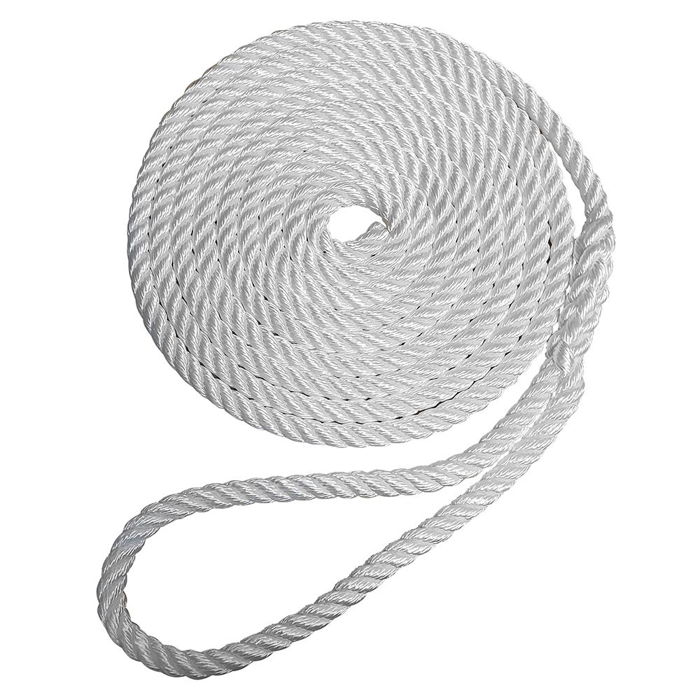 """Robline Premium Nylon 3 Strand Dock Line - 1/2"""" x 30' - White"""