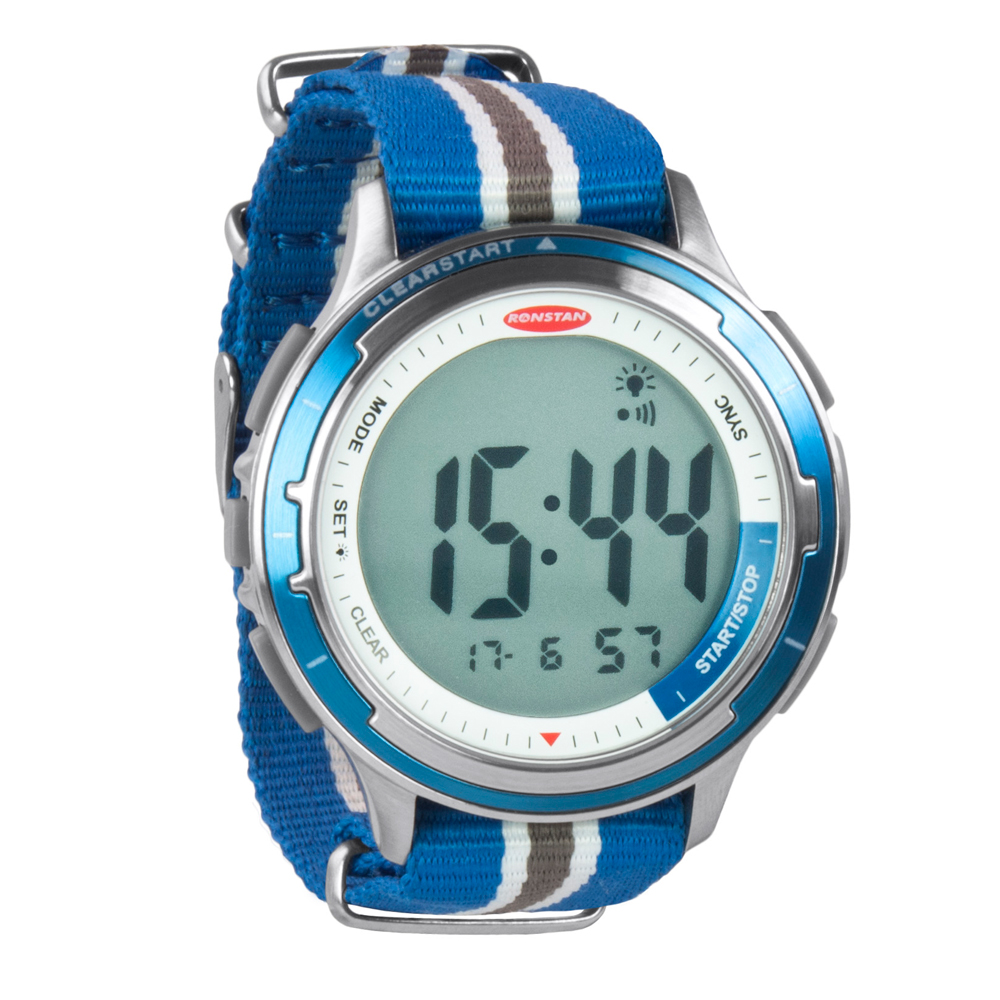 """Ronstan Clear Start™ Sailing Watch - 50mm (2"""") - Stainless Steel w/Blue Canvas Band"""