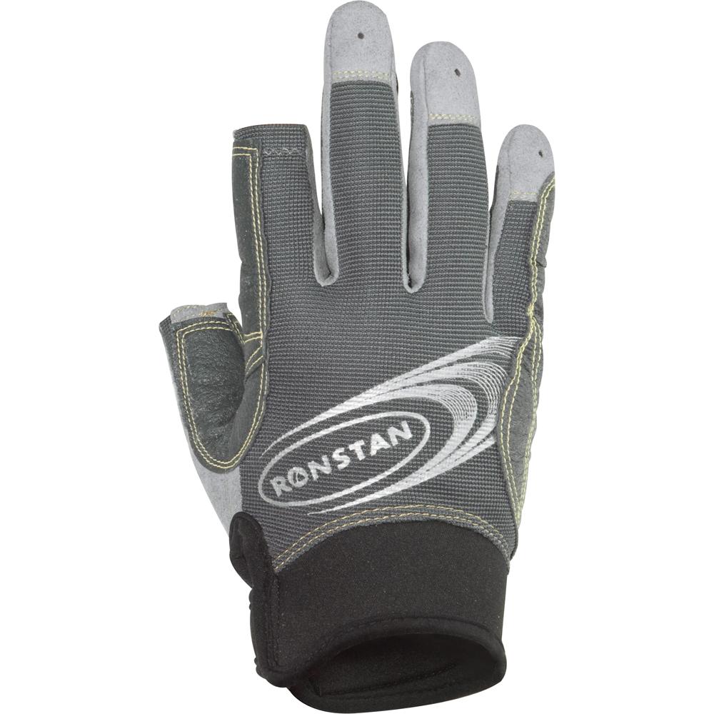 Ronstan Sticky Race Gloves w/3 FUll & 2 Cut Fingers - Grey - Medium