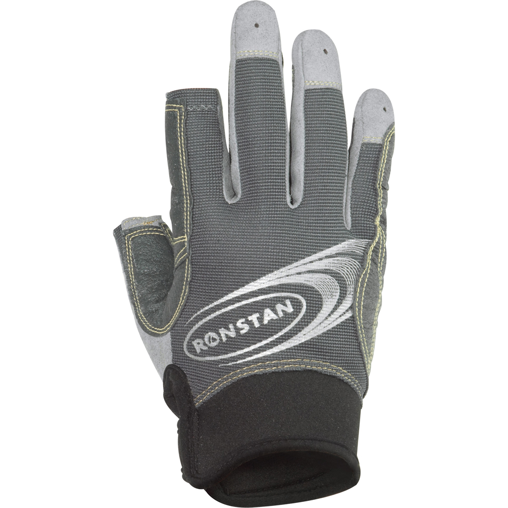 Ronstan Sticky Race Gloves w/3 Full & 2 Cut Fingers - Grey - Small