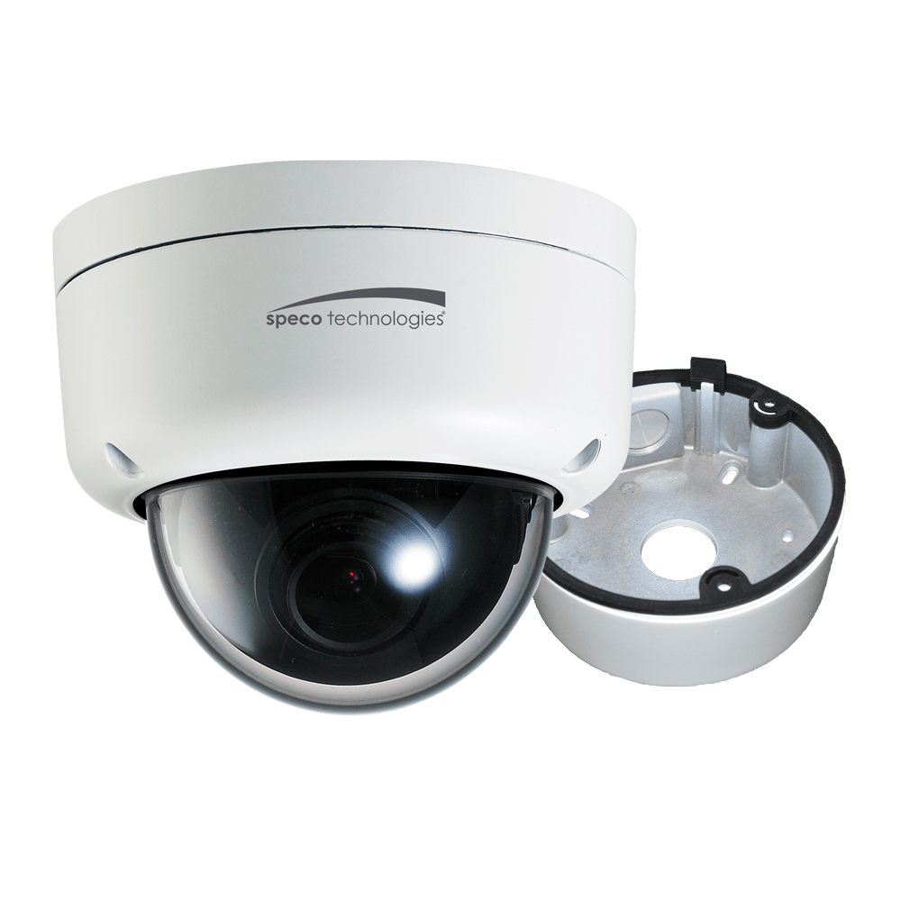 Speco 2MP Ultra Intesifier® IP Dome Camera 3.6mm Lens - White Housing w/Removable Black Cover & Included Junction Box