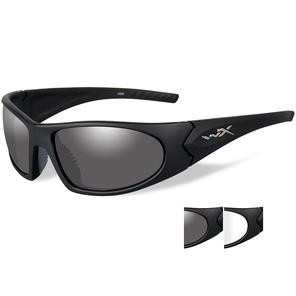 Wiley X Romer 3 Sunglasses - Smoke Grey/Clear Lens - Matte Black Frame