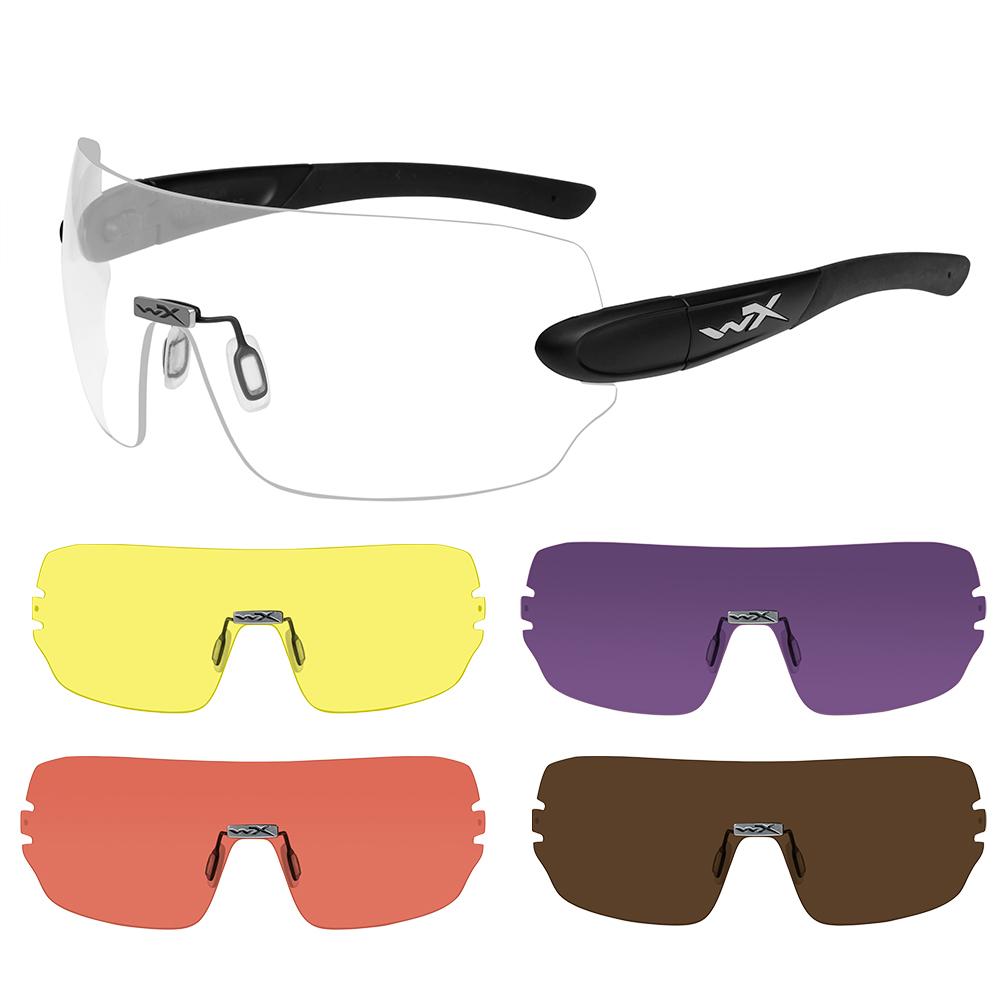 Wiley X Detection Sunglasses - Clear, Yellow, Orange, Purple & Copper Lens - Matte Black Frame