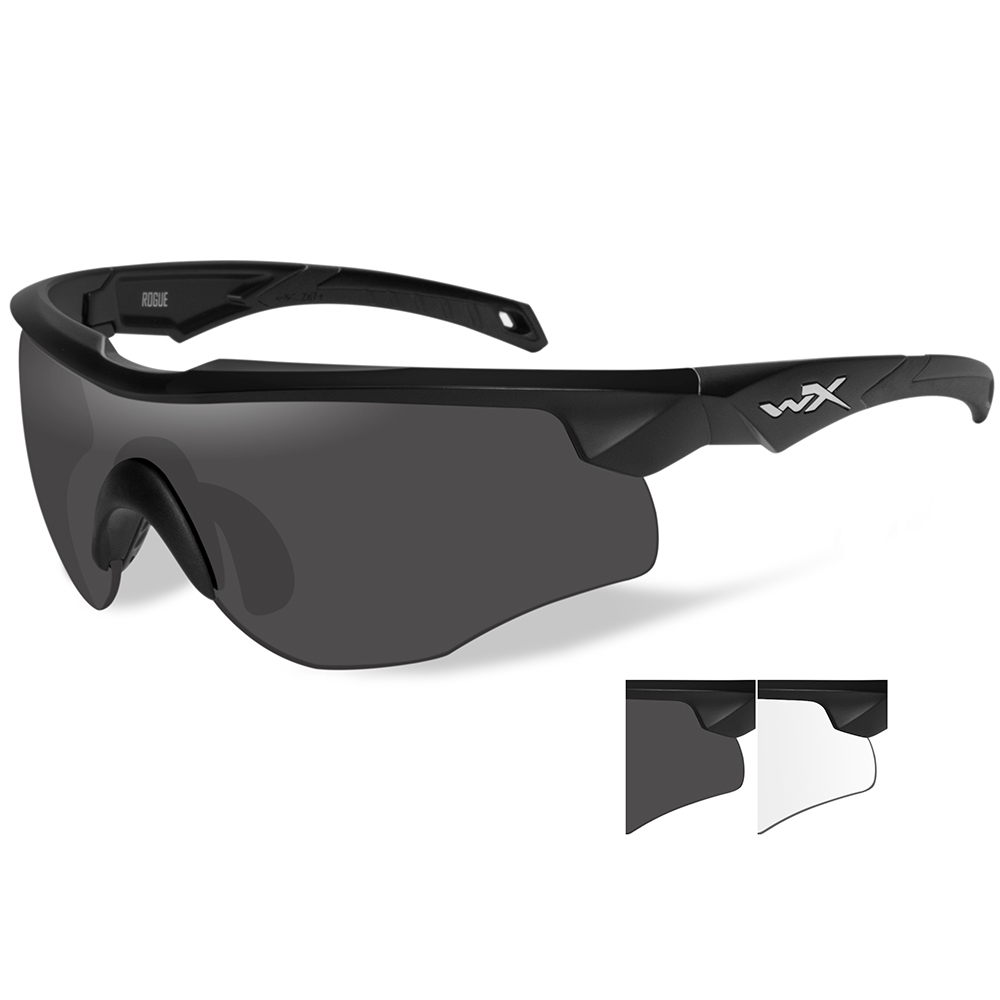Wiley X Rogue Sunglasses - Smoke Grey/Clear Lens - Matte Black Frame