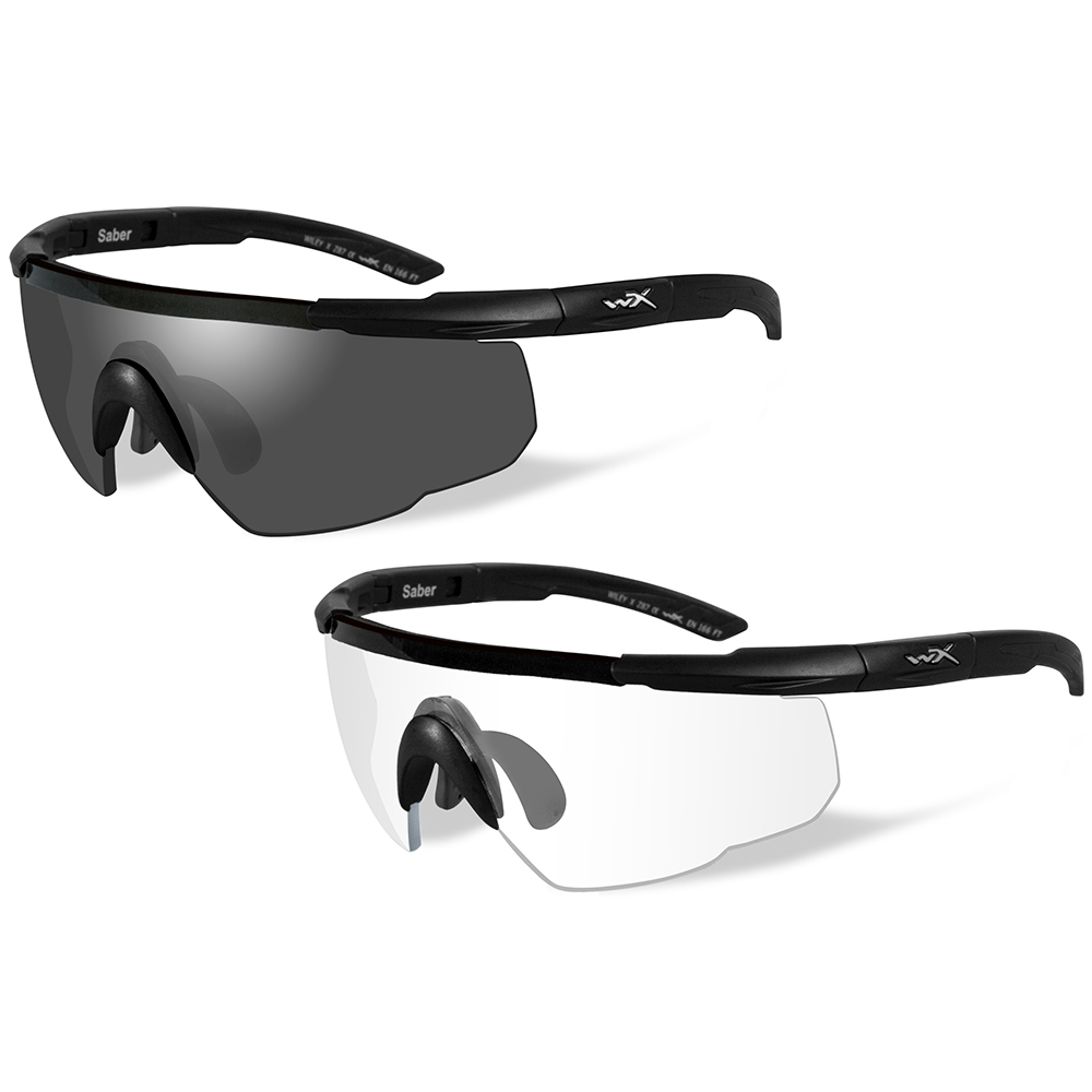 Wiley X Saber Advanced Sunglasses - Smoke Grey/Clear Lens - 2 Matte Black Frames