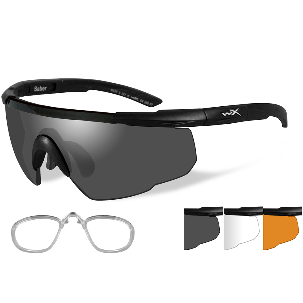 Wiley X Saber Advanced Sunglasses - Smoke Grey/Clear/Rust - Lens - Matte Black Frame w/Rx Insert