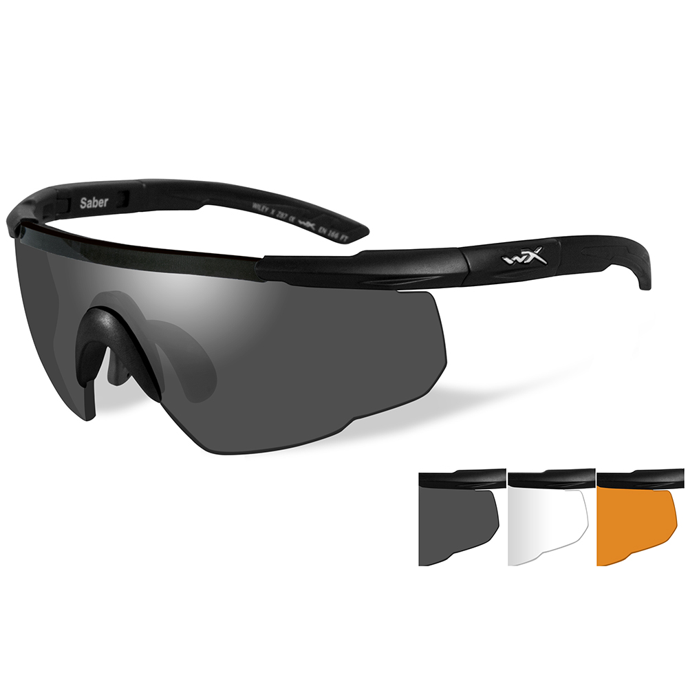 Wiley X Saber Advanced Sunglasses - Smoke Grey/Clear/Rust Lens - Matte Black Frame