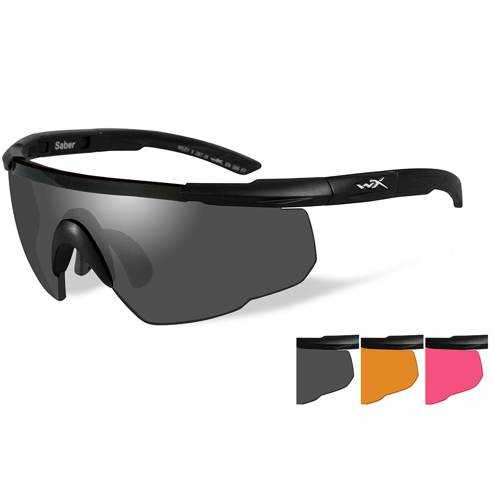 Wiley X Saber Advanced Sunglasses - Smoke Grey/Light Rust/Vermillion Lens - Matte Black Frame