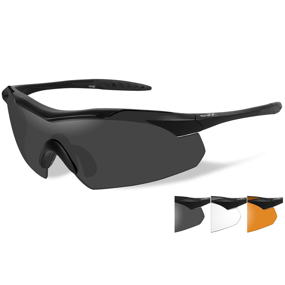 Wiley X Vapor Sunglasses - Smoke Grey/Clear/Rust Lens - Matte Black Frame
