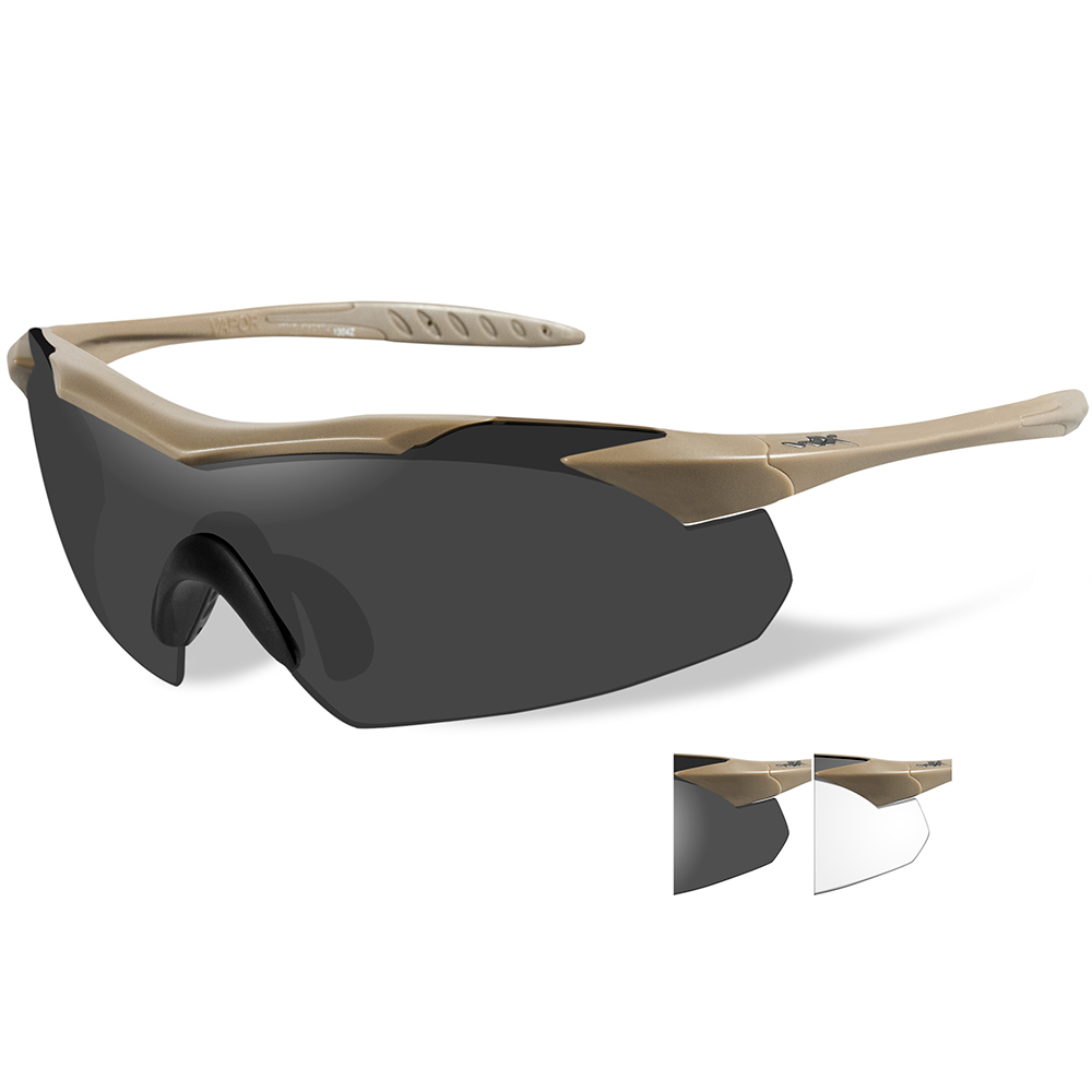 Wiley X Vapor Sunglasses - Smoke Grey/Clear Lens - Tan Frame