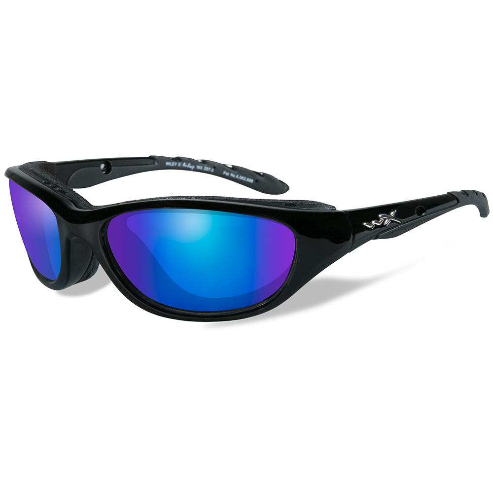 Wiley X Airrage Polarized Sunglasses - Blue Mirror Lens - Gloss Black Frame