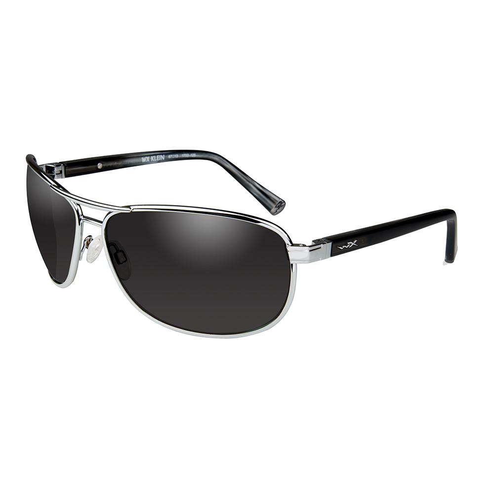Wiley X Klein Sunglasses - Smoke Grey Lens - Silver Frame