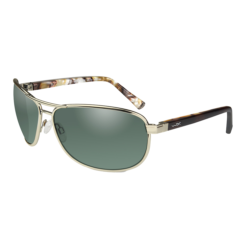 Wiley X Klein Sunglasses - Polarized Smoke Green Lens - Gold Frame