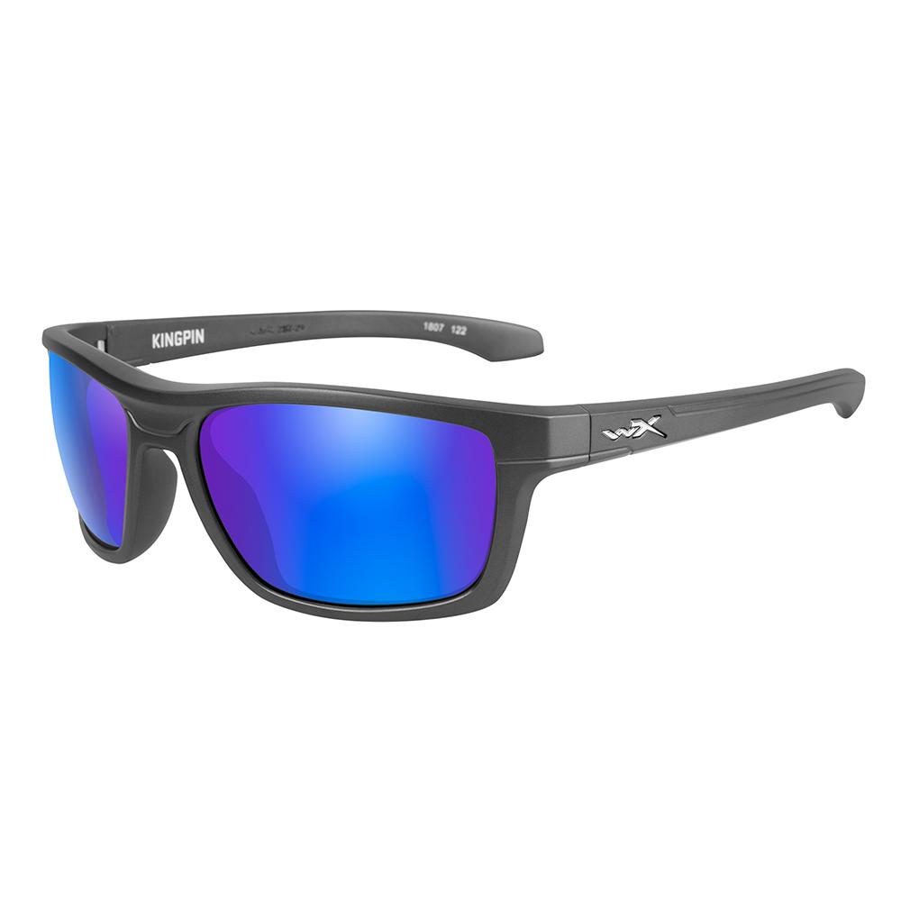 Wiley X Kingpin Sunglasses - Polarized Blue Mirror Lens - Matte Graphite Frame