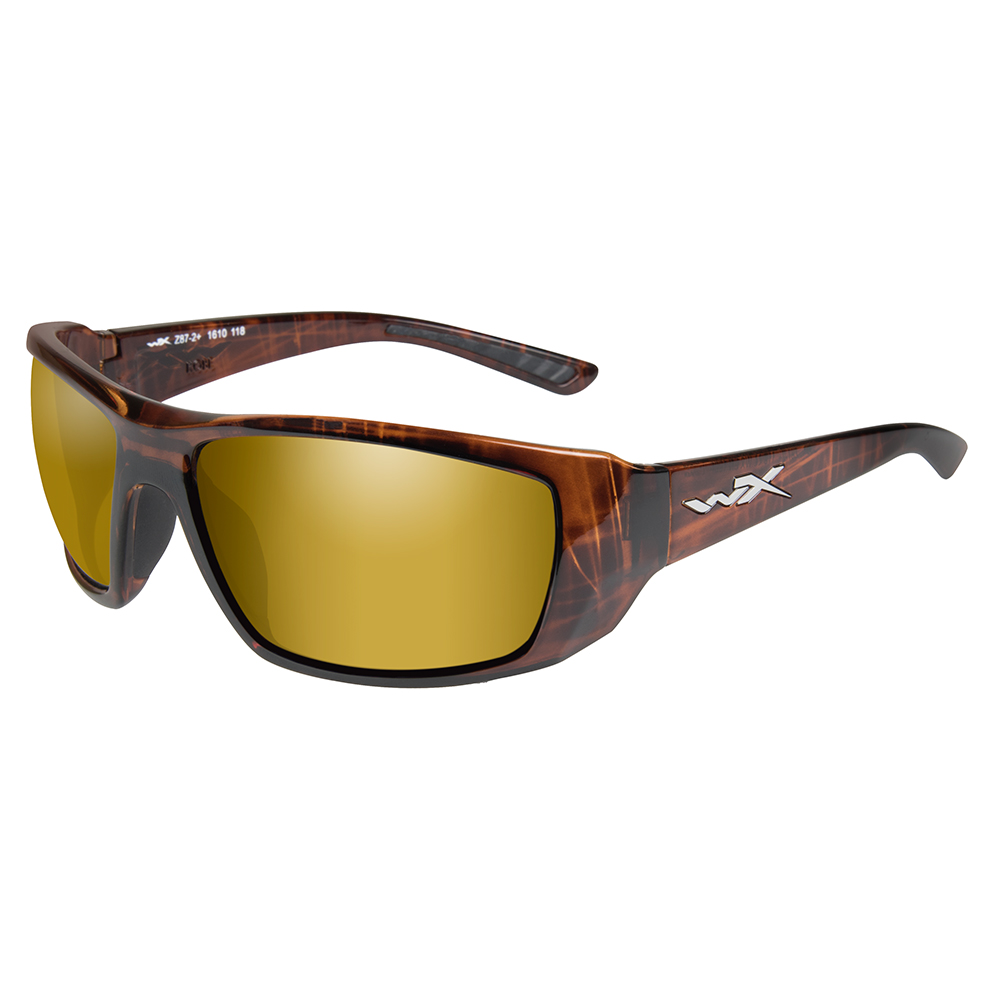 Wiley X Kobe Sunglasses - Polarized Venice Gold Mirror Lens - Gloss Hickory Brown Frame