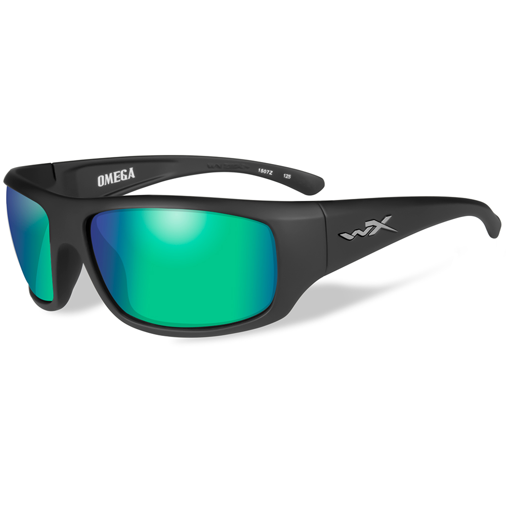 Wiley X Omega Polarized Sunglasses - Emerald Mirror Lens - Matte Black Frame