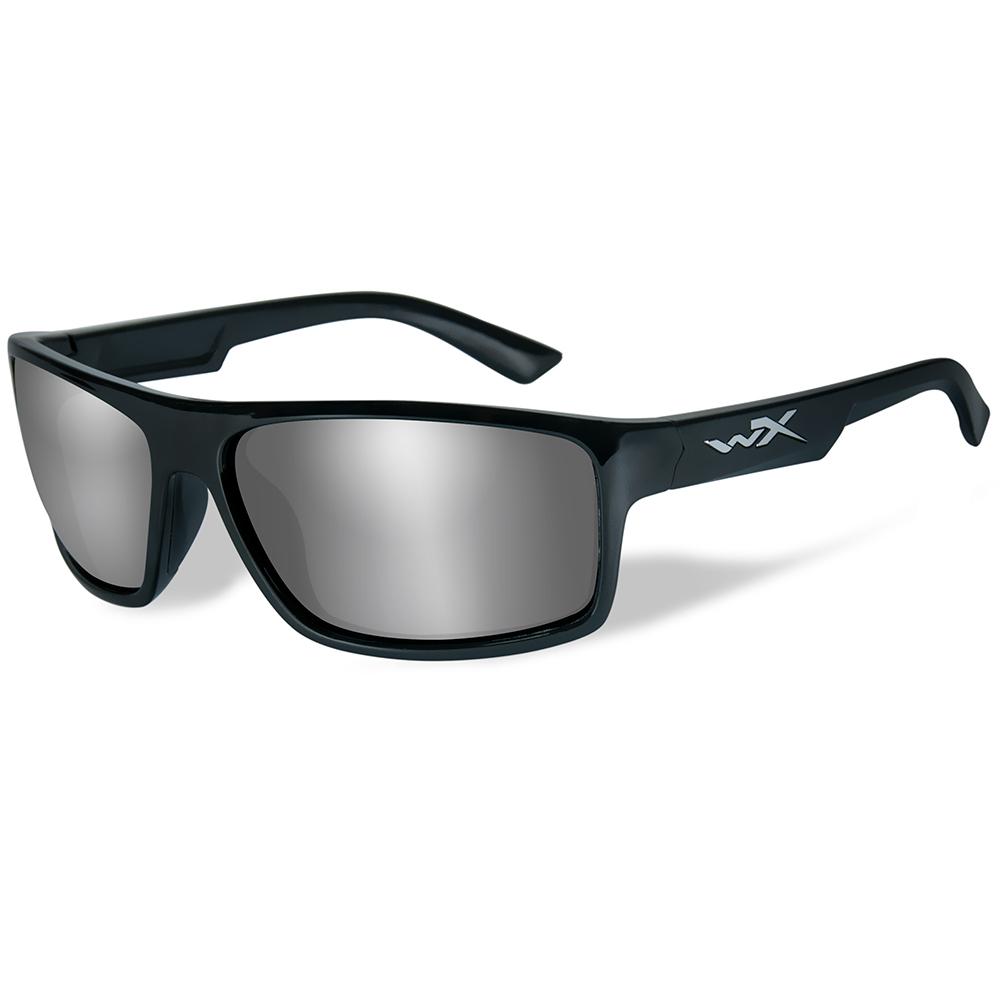 Wiley X Peak Sunglasses - Silver Flash Lens - Gloss Black Frame