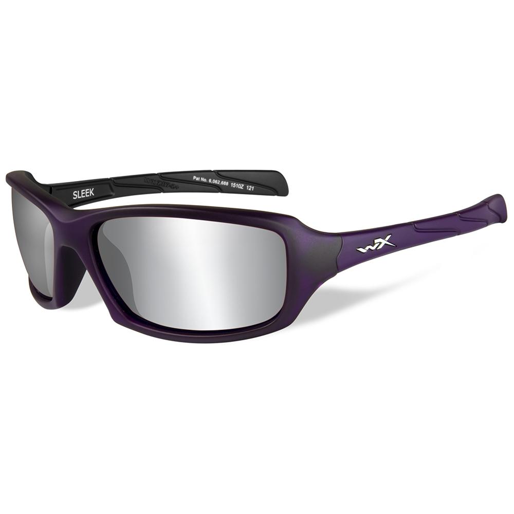Wiley X Sleek Sunglasses - Silver Flash Lens - Matte Violet Frame