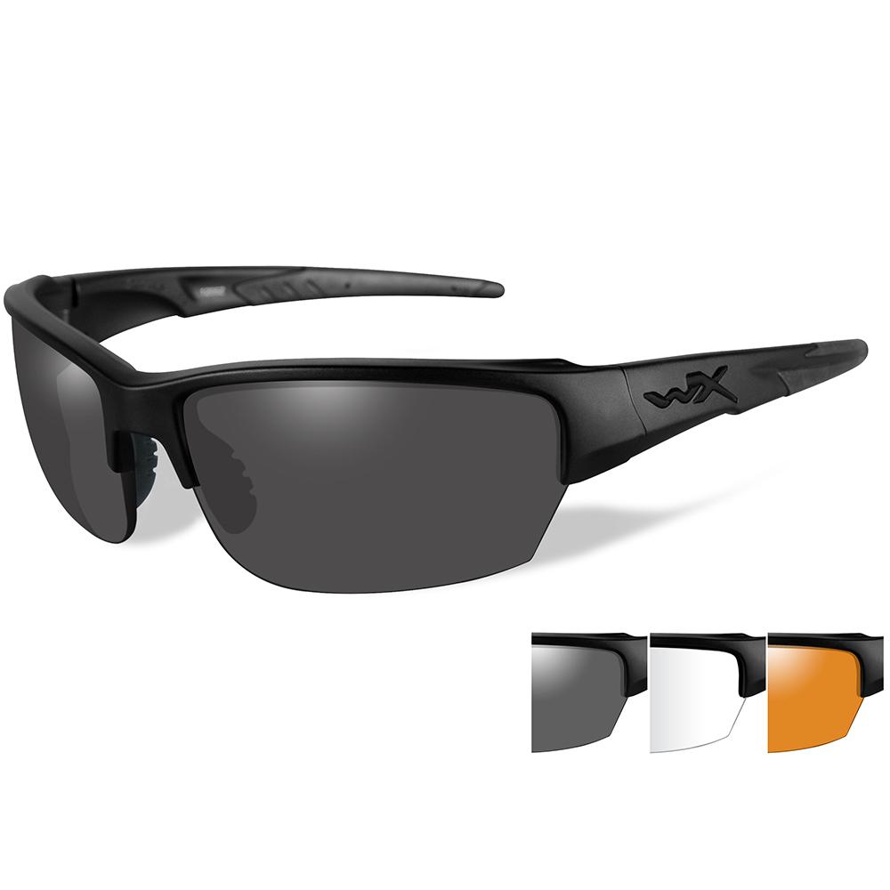 Wiley X Saint Sunglasses - Smoke Grey/Clear/Rust Lens - Matte Black Frame