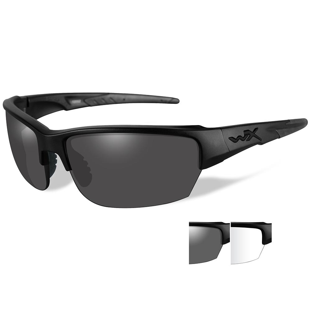 7ea70cbbbca6 Wiley X Saint Sunglasses - Smoke Grey/Clear Lens - Matte Black Frame. Click  to zoom